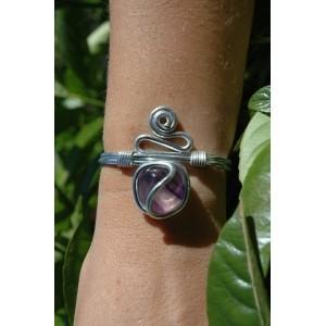 """Zig-zag"" bracelet with natural stone"