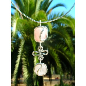 """""""Ola"""" pendant with 2 natural stones"""
