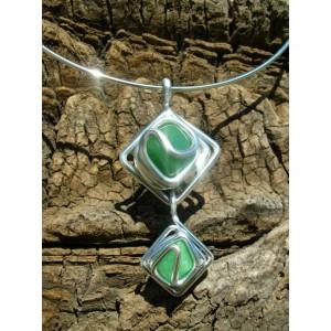 """Double losanges"" pendant with 2 natural stones"