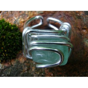 Square ring with big natural stone