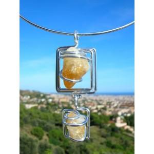 """""""Double carrés"""" pendant with 2 natural stones"""
