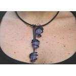 """Triptik"" black pendant with natural stones"
