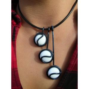 """""""Triptik"""" black pendant with glass cabochons"""