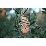 "Pendentif martelé ""zig-zag+spirale"" cuivre"