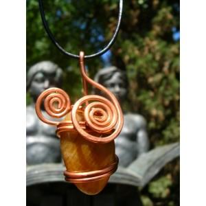 """Cerises"" copper pendant with a big natural stone"