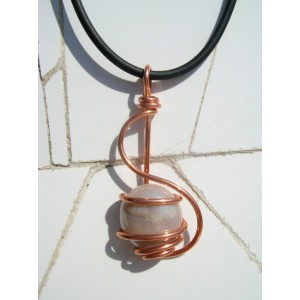 """Esse"" copper pendant with colored glass"