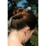 """Pic à cheveux """"spirale"""" avec pierre naturelle"""