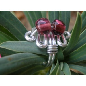 Ring with 2 Indian glass beads