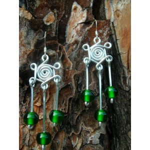 """""""Rosas Indy"""" earrings with Indian glass bead"""