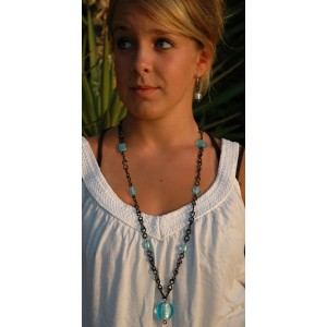 Long and black necklace with color glass beads