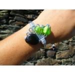 Bracelet avec perles en verre et en céramique
