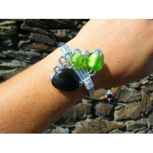 Ceramic and glass beads bracelet