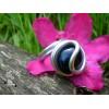 Bague arrondie agate bleue