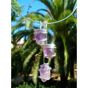 """Triptik"" pendant with 3 natural stones"