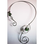 Celtic scarf-necklace with colored glass