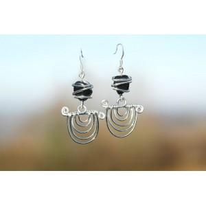 """Boucles d'oreilles """"Pachamama"""" avec petites pierres naturelles"""