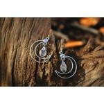"""Boucles d'oreilles """"Lune Celeste"""" avec fins cristaux de roche"""